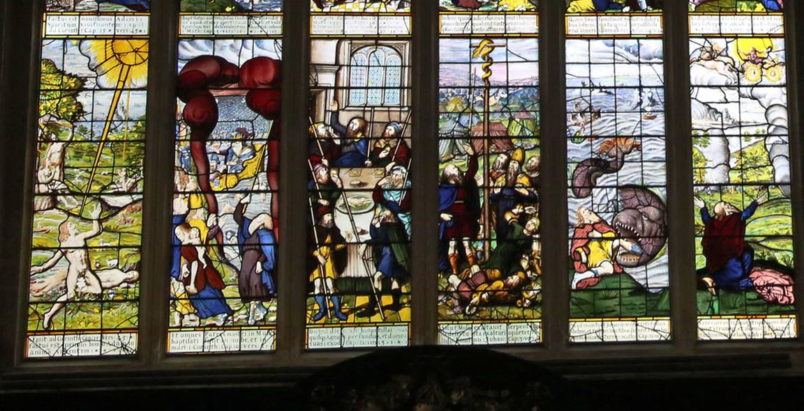 The window at Lincoln College in Oxford features a depiction of the story of Jonah (2nd from the right) that influenced John Wesley. Photo by Kathleen Barry, United Methodist Communications.