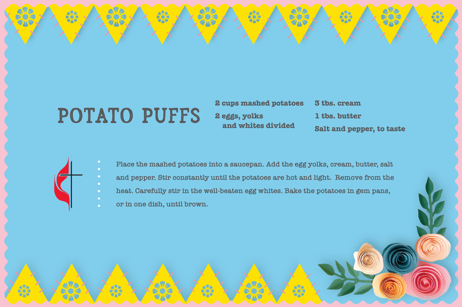 Vintage potato puffs recipe for Easter. Design by Sara Schork, United Methodist Communications