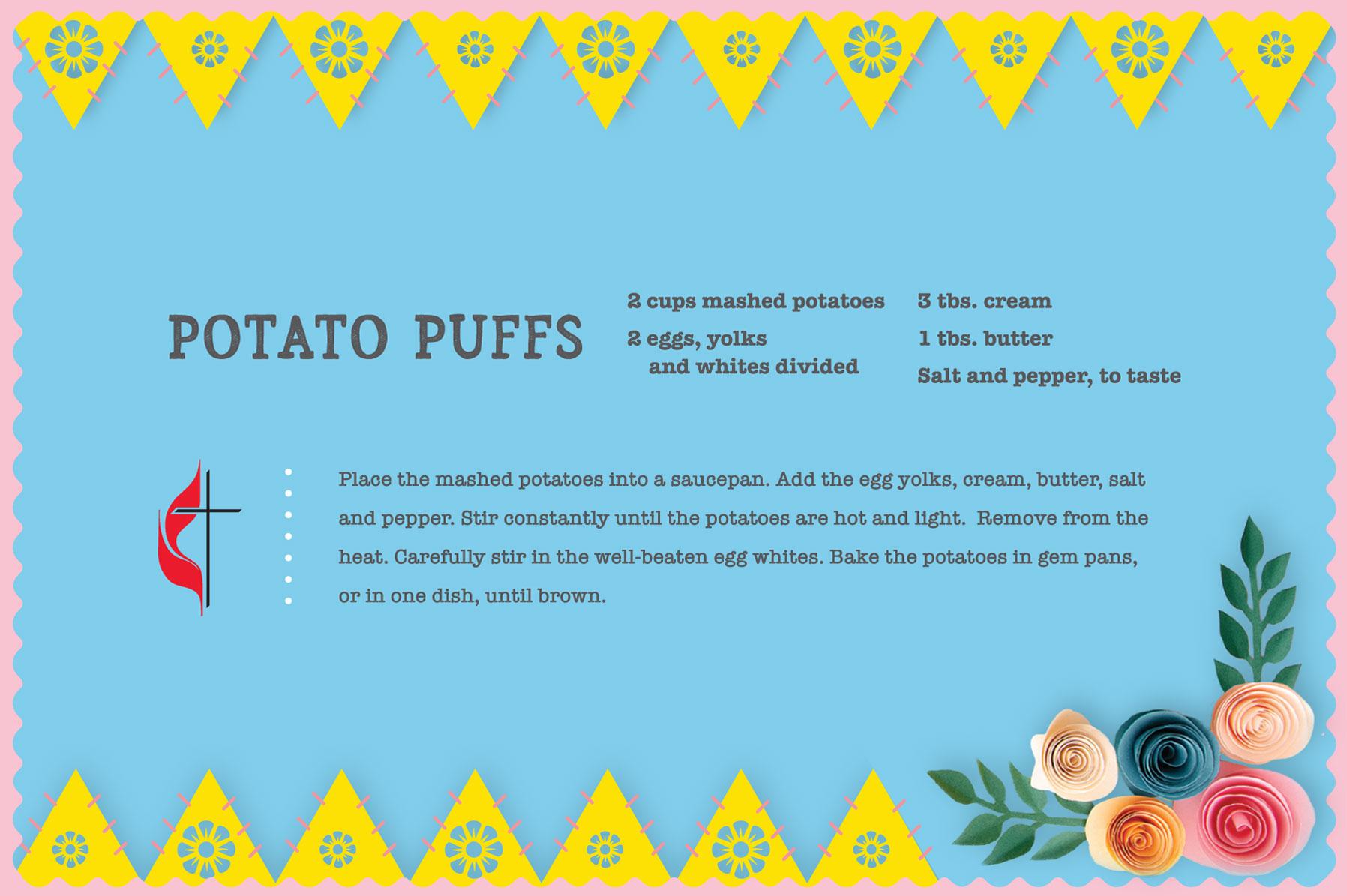 Vintage potato puffs recipe for Easter. Design by Sara Schork, United Methodist Communications