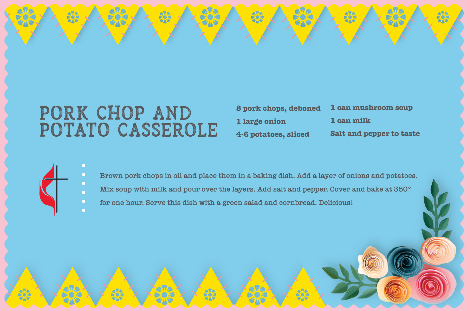 Pork chop and potato recipe for Easter. Design by Sara Schork for United Methodist Communications
