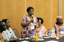 Missionary Grace Musuka presents at the 2019 Missionary Gathering. In January of 2019, Global Ministries missionaries serving throughout the continent of Africa gathered in Johannesburg to connect with each other to form a cohesive bond to help strengthen the mission of the church. PHOTO: ANTHONY TRUEHEART