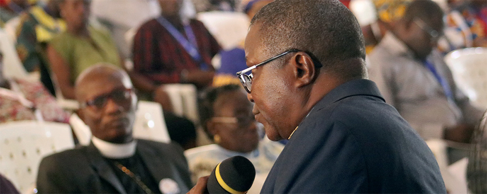 Bishop Samuel J. Quire Jr. leads discussion at a meeting of the Liberia Annual Conference in Ganta. The conference approved a resolution calling for changes to the Protocol of Reconciliation & Grace through Separation, one of the plans headed to the 2020 United Methodist General Conference.