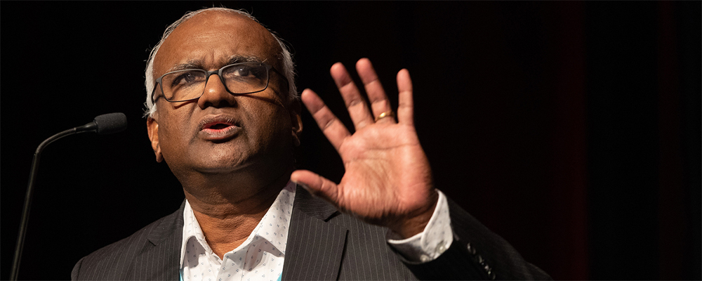 Moses Kumar discusses the denomination's budget at the 2020 Pre-General Conference Briefing in January in Nashville, Tenn. Kumar, the top executive of the General Council on Finance and Administration, helped lead a Feb. 21 online meeting dealing with the denomination's financial challenges.