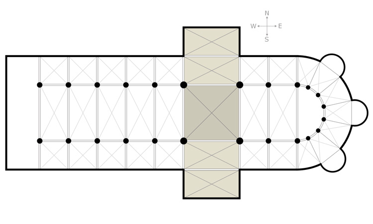 """A transept (with two semi-transepts) is a transverse part of any building, which lies across the main body of the edifice. In churches, a transept is an area set crosswise to the nave in a cruciform (""""cross-shaped"""") building within the Romanesque and Gothic Christian church architectural traditions. Definition courtesy of Wikipedia Commons; diagram by Lusitana, courtesy of Wikimedia Commons."""
