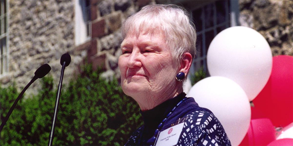 The Rev. Frances Helen Foley Guest speaks at Dickinson College in Carlisle, Pa., after receiving a distinguished alumni award in June 2002. The three and a half years she spent in a Japanese prison camp with her missionary parents helped shape her ministry.