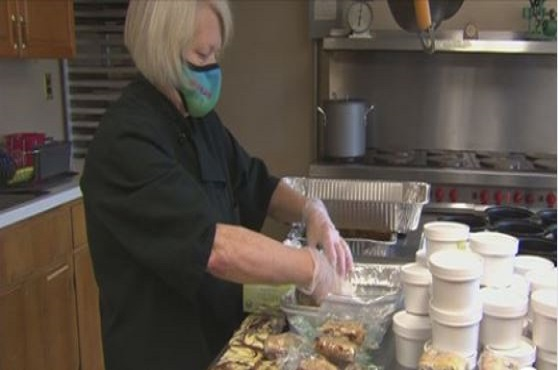 Chef Diana Palmer turned her unemployment into a meal-making venture named Faith in Food. Photo courtesy of WBZ TV Boston