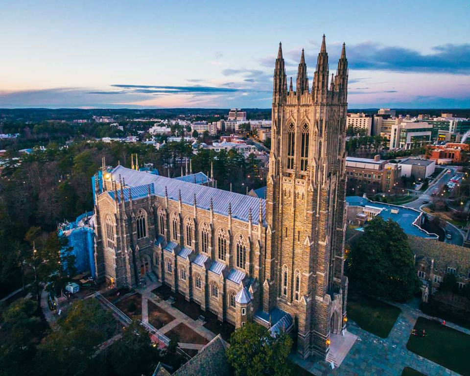 Aerial view of the Duke University Chapel in the center of the Duke campus in Durham, N.C. Completed in 1932, this gothic-style chapel seats over 1,800 people and stands 210 feet, making it one of the tallest buildings in Durham County. Photo by Estlin Haiss Photography. Haiss is a graduate of Duke University.