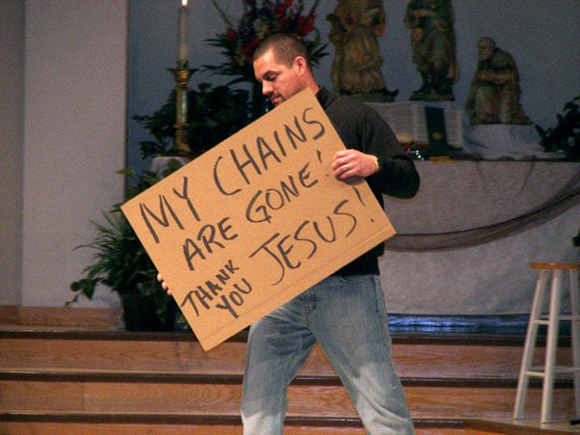 More than a dozen former alcoholics and addicts carried signs telling how it felt to be in recovery during a presentation at the 2012 Oklahoma Annual Conference meeting in Tulsa.