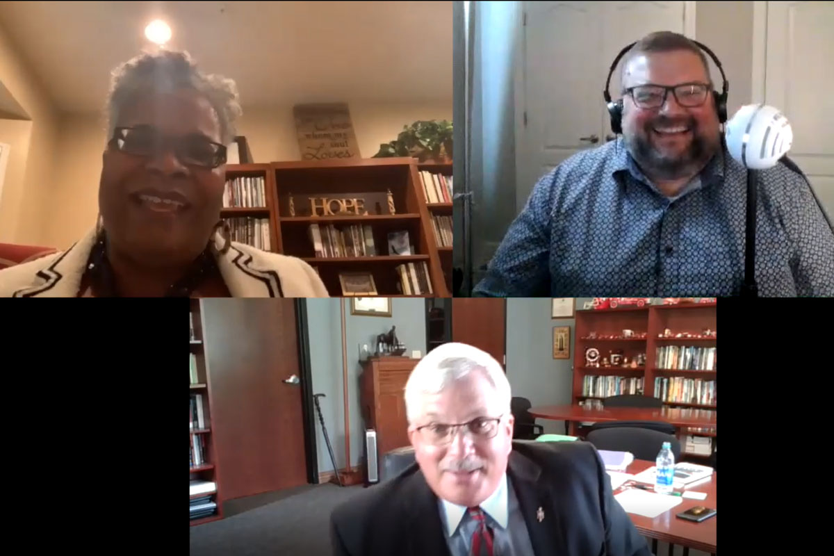 Bishops LaTrelle Easterling and Robert Farr discuss racism, the killing of George Floyd and the protests happening across the US on a special episode of Get Your Spirit in Shape. Screenshot by United Methodist Communications.