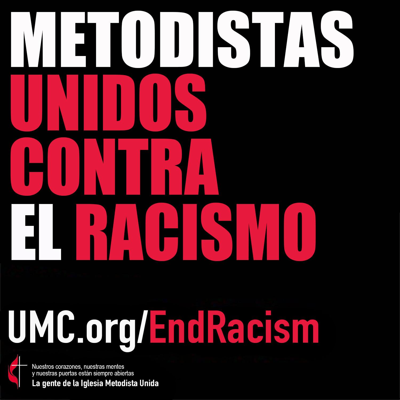 """Logo de la campaña """"Metodistas Unidos Contra El Racismo"""". Versión español Rev. Gustavo Vasquez, Noticias MU."""