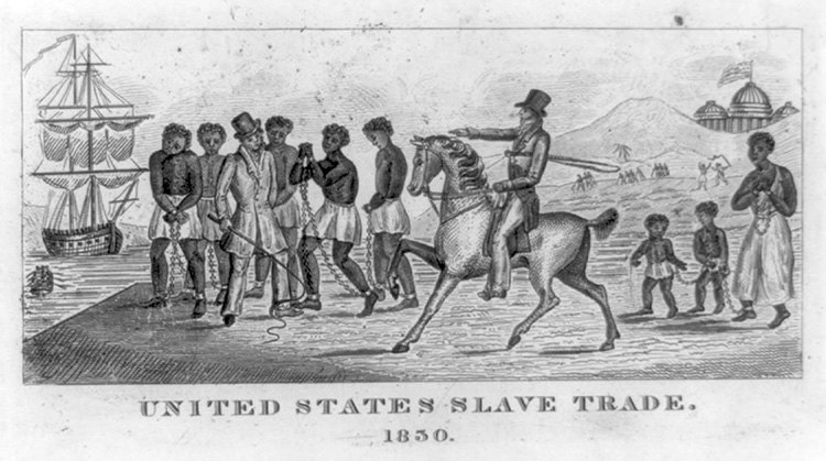An engraving from 1830 depicts the slave trade in the United States. The U.S. Capitol is visible in the background. Engraving from the Library of Congress.