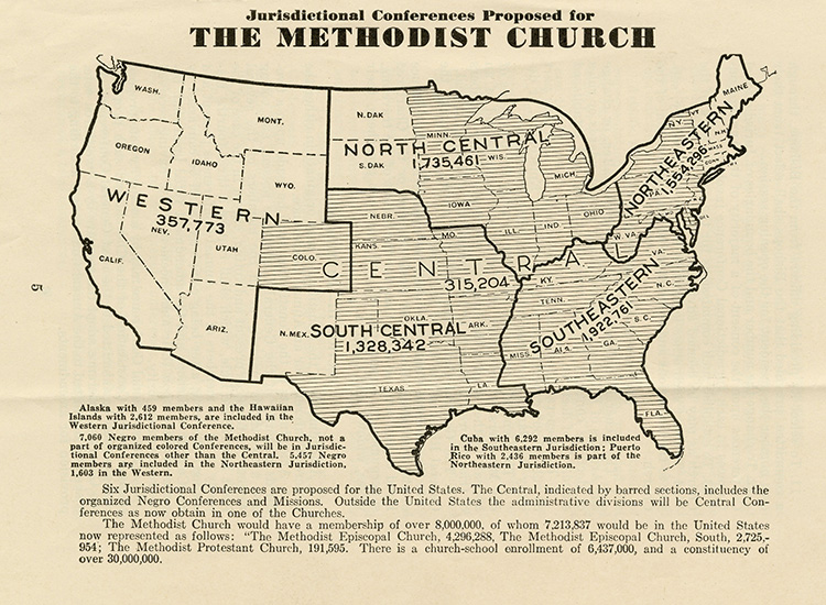 A 1939 map illustrates the proposed jurisdictional conferences for the Methodist Church. Map courtesy of Pitts Theology Library, Emory University.