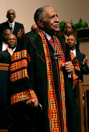 The Rev. Joseph Lowery, who passed away in 2020, preaches at Cascade United Methodist Church in Atlanta in 2011. File photo by Kathy L. Gilbert, UM News.
