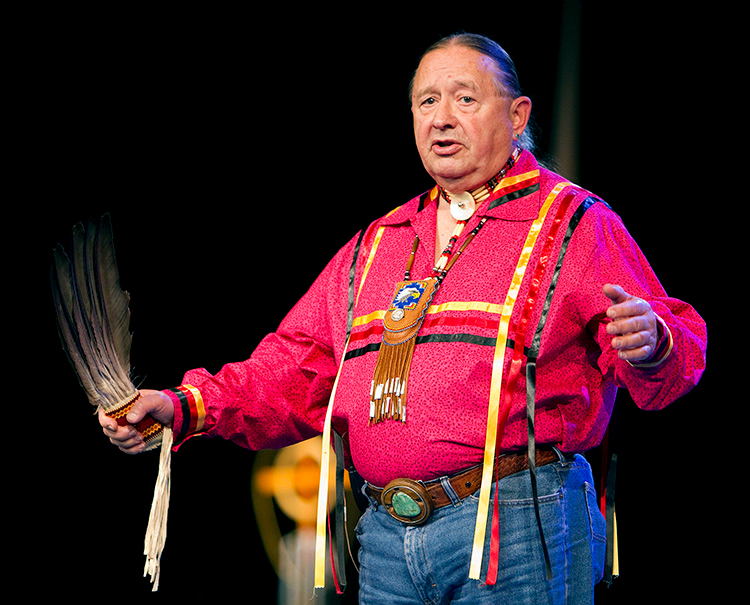 "The Rev. George Tinker helps lead an ""Act of Repentance toward Healing Relationships with Indigenous Peoples"" at the 2012 United Methodist General Conference in Tampa, Fla. File photo by Mike DuBose, UM News."