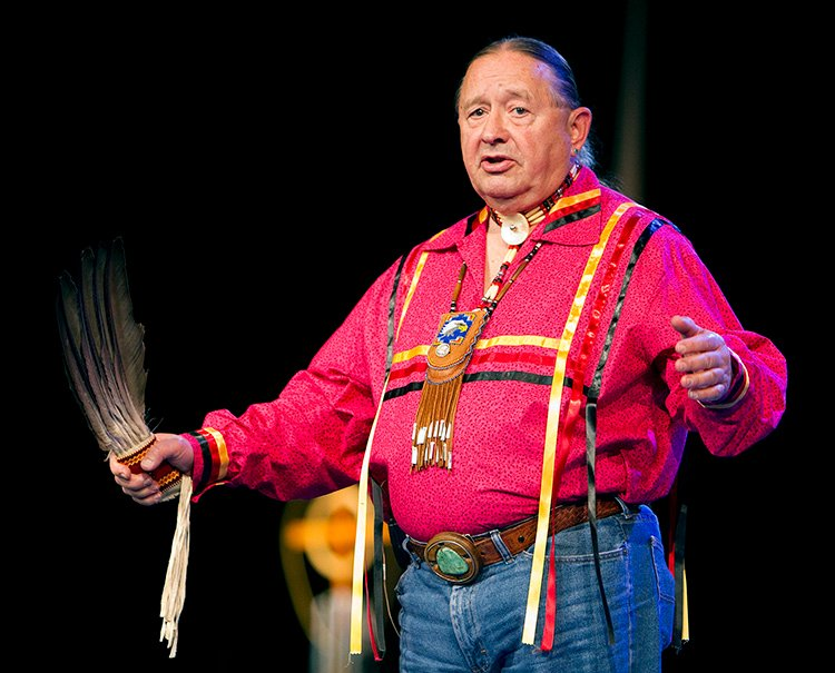"""The Rev. George Tinker helps lead an """"Act of Repentance toward Healing Relationships with Indigenous Peoples"""" at the 2012 United Methodist General Conference in Tampa, Fla. File photo by Mike DuBose, UM News."""
