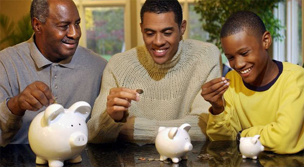3 generational family teaching about giving. Stock Photo.