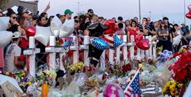 """22 Mexican Americans and Mexican tourists killed in 2019 at a shopping center in El Paso, Texas, by a white supremacist who railed about a """"Hispanic invasion"""" in Texas before opening fire. (Photo by Nick Oza, USA Today)"""