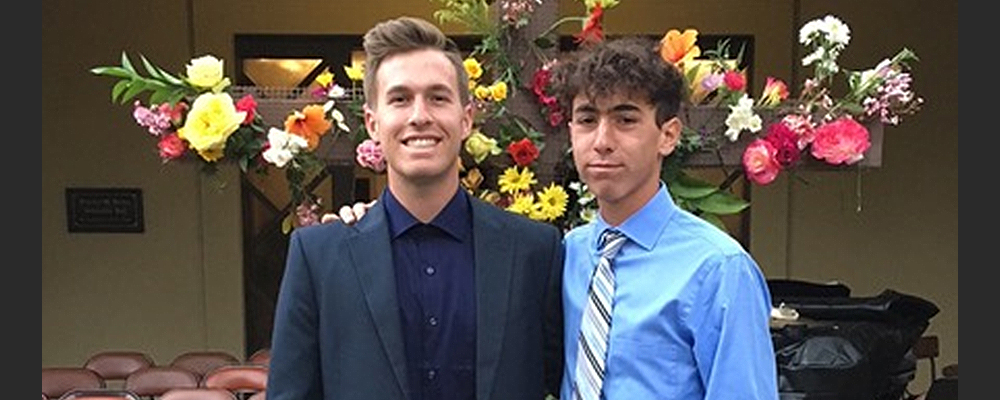 Trent Hisey, Left, poses with fellow student. Courtey photo.