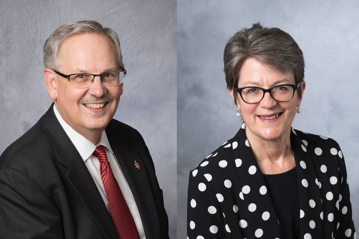 Bishop Bruce Ough, left, and Bishop Sally Dyck will take office as the new Executive Secretary and Ecumenical Officer of the Council of Bishops of The United Methodist Church on Sept. 1, 2020. (Photos courtesy of the Council of Bishops)