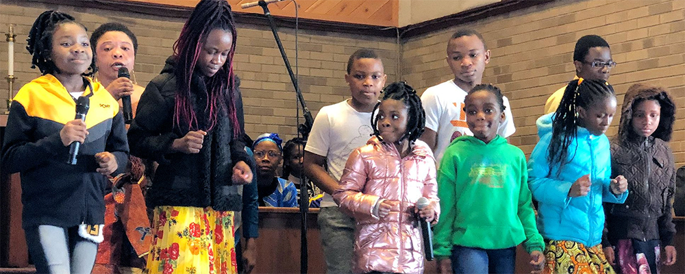 All ages lead in worship when the family of God gathers as Restoration Community Church. RCC is one of three African United Methodist congregations in Michigan; the others are in Lansing and Detroit.~ photo courtesy Dean Prentiss