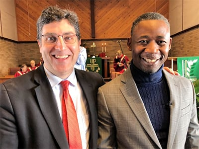 The Revs Dean Prentiss (left) and Banza Mukalay lead worship at Wesley Park UMC. An English-speaking service on Sunday morning; a Swahili-speaking service Sunday afternoon.~ Photo courtesy Dean Prentiss