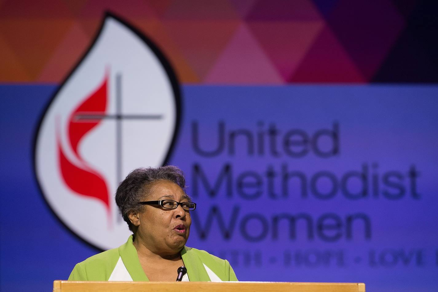 Clara Ester of the Alabama-West Florida Conference addresses the 2016 United Methodist General Conference in Portland, Ore. Photo by Mike DuBose, UMNS