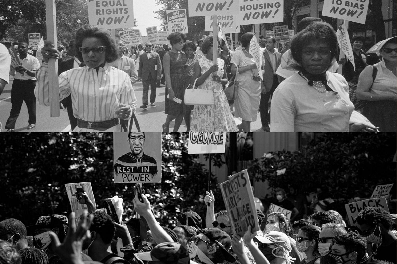 Justice raciale: hier et aujourd'hui. (Haut) Marche sur Washington pour l'emploi et la liberté à Washington, D.C., le 28 août 1963; photo de la Bibliothèque du Congrès. (En bas) « Je vais respirer », en mars le 4 juin 2020 à Nashville, au Tennessee; photo par Chanitra Dreher Photography. Illustration photo par Crystal Caviness, United Methodist Communications.