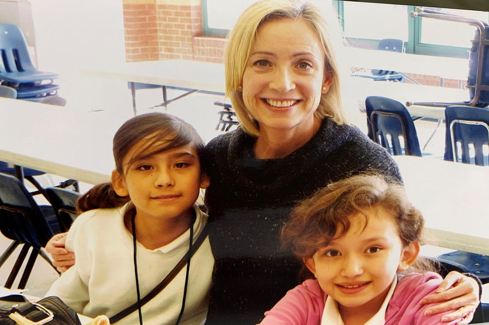 Angie (left) was mentored during elementary school by Karen Hunt (center) as part of First United Methodist Church at Fort Worth's Kids Hope Mentoring ministry. Pictured, right, is Angie's cousin. Photo courtesy of Gay Ingram.