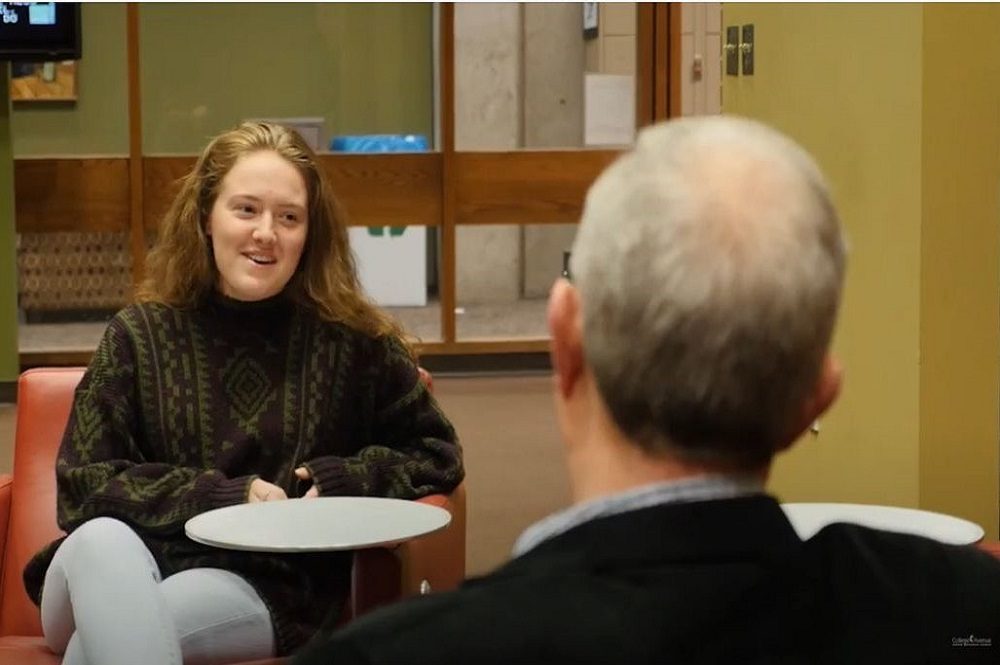 Rachel Shockney (left) is part of of College Avenue United Methodist Church's Campus Mentoring Ministry in Muncie, Indiana. Her mentor is John Ledbetter (right), a Ball State University professor and church member. Photo courtesy of College Avenue United Methodist Church.