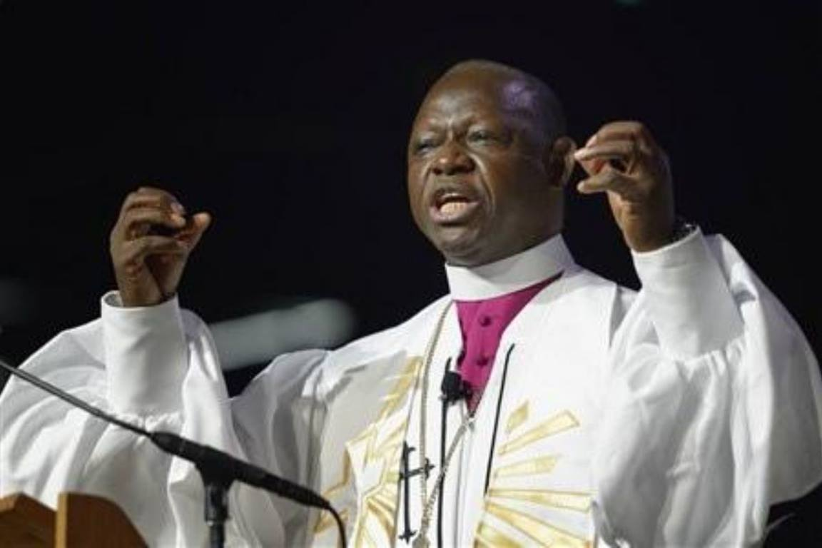 Bishop John K. Yambasu, the Resident Bishop of the Sierra Leone, preaching at the 2016 General Conference of The United Methodist Church. (Paul Jeffrey/UMNS - File photo)