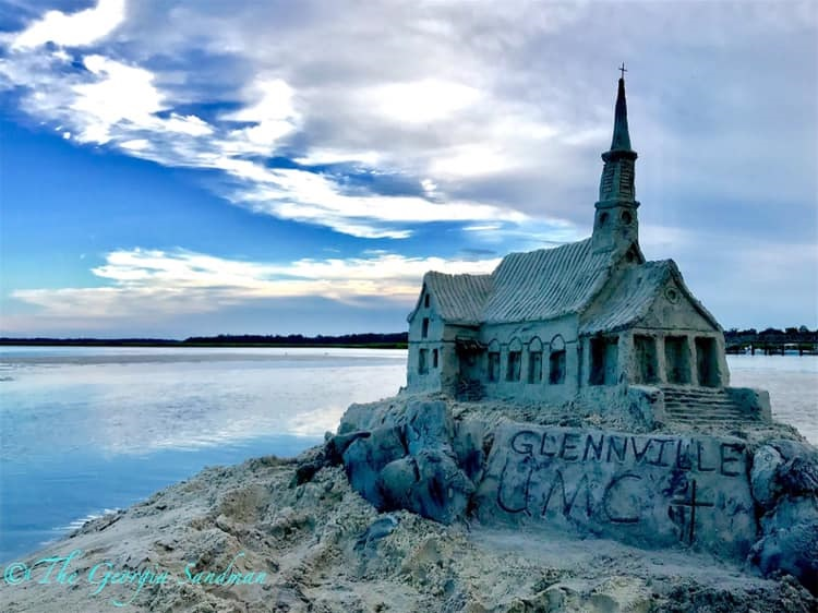 The sand replica of Glennville United Methodist Church remained standing after a strong storm. Photo courtesy of Dylan Mulligan.