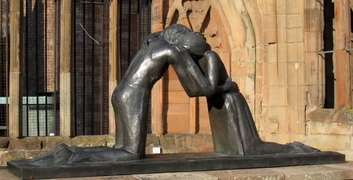 Reconciliation can be difficult after a period of conflict. Experts help us find ways to reconnect. Reconciliation by Vasconcellos. Photo by Martinvl, courtesy Wikimedia Commons.