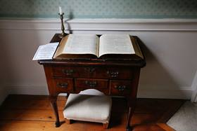 """A view of John Wesley's prayer room called the """"Power House of Methodism"""" is located in his Georgian London home. Photo by Kathleen Barry, United Methodist Communications."""