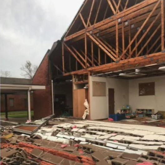 University United Methodist Church in Lake Charles, Louisiana, received significant damage from Hurricane Laura, which came through the area on August 27, 2020, as a Category 4 hurricane. Photo courtesy of Louisiana Conference of The United Methodist Church.