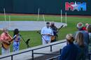 The pastor and praise team of First United Methodist Church at Pulaski, Va., lead worship in Calfee Park, home of the Pulaski Yankees. Photo courtesy of Holston Conference of The United Methodist Church