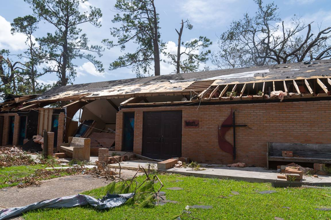 Maplewood UMC in Sulphur, Louisiana suffered significant damage from Hurricane Laura, August 2020. Photo by Louisiana Conference.