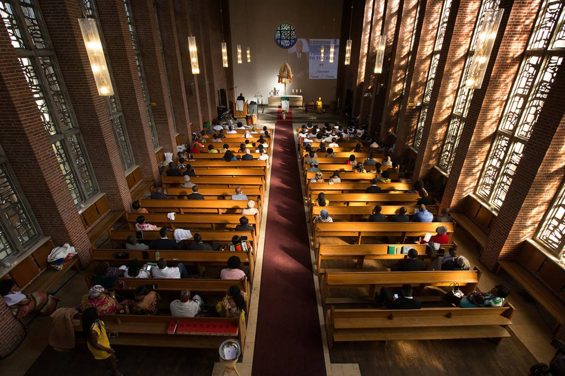 Ghanaian immigrants gather for worship at Calvary United Methodist Church in Hamburg, Germany. They rent the sanctuary from the Evangelical Church, the state church of Germany. Photo by Mike DuBose, UM News.