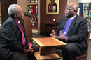 The Episcopal Church Presiding Bishop Michael Curry chats with Bishop Gregory Palmer, The United Methodist Church chair of the Episcopal Church Dialogue Committee. (Photo provided by the Council of Bishops.)