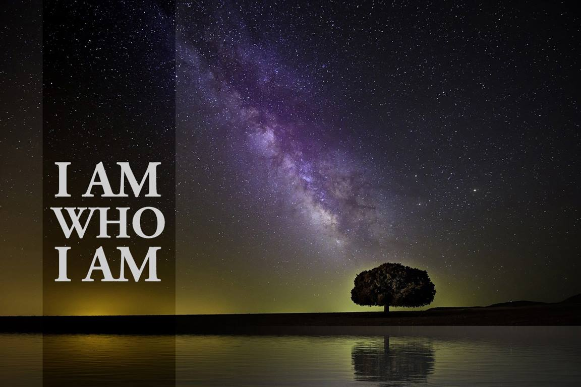 """I am who I am"" (Exodus 3:13-15) is God's response to Moses's question, ""… and if they ask me, 'What is his name?' Then what shall I tell them?"" Milky Way image by Pete Linn, courtesy of Pixabay; graphic by Laurens Glass, United Methodist Communications."