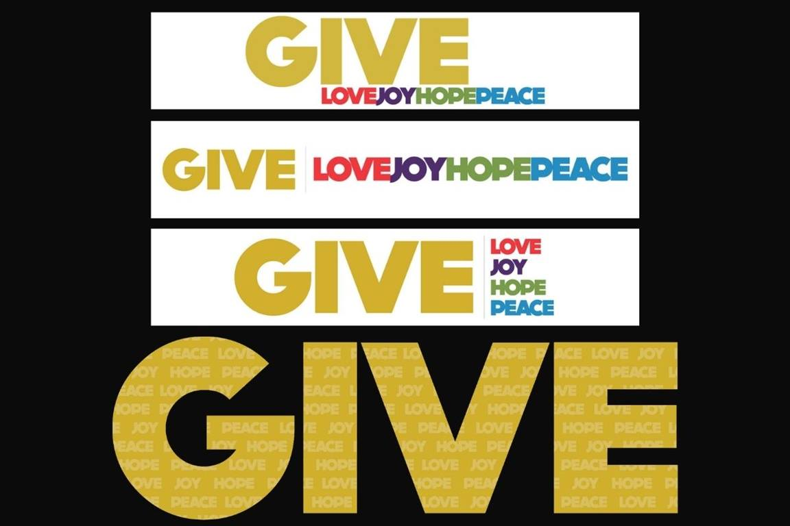 The Give Love campaign will offer a myriad of images for use by churches. A sampling of the overarching campaign logos are shown. (Image courtesy of United Methodist Communications)