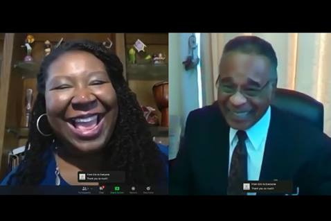Erin Hawkins and the Rev. Emmanuel Cleaver discuss voter suppression. Screenshot of video by United Methodist Communications.
