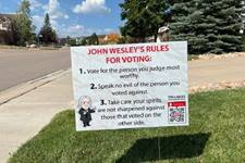 On October 6, 1774, John Wesley wrote that he offered advice to his fellow Methodists on how to conduct themselves in the coming parliamentary elections. Photo courtesy of Tri-Lakes United Methodist Church.