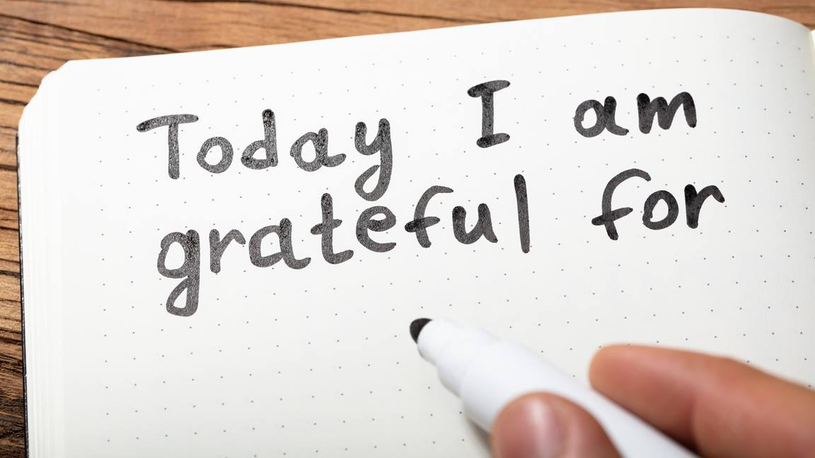 Writing in a gratitude journal is practice of thankfulness