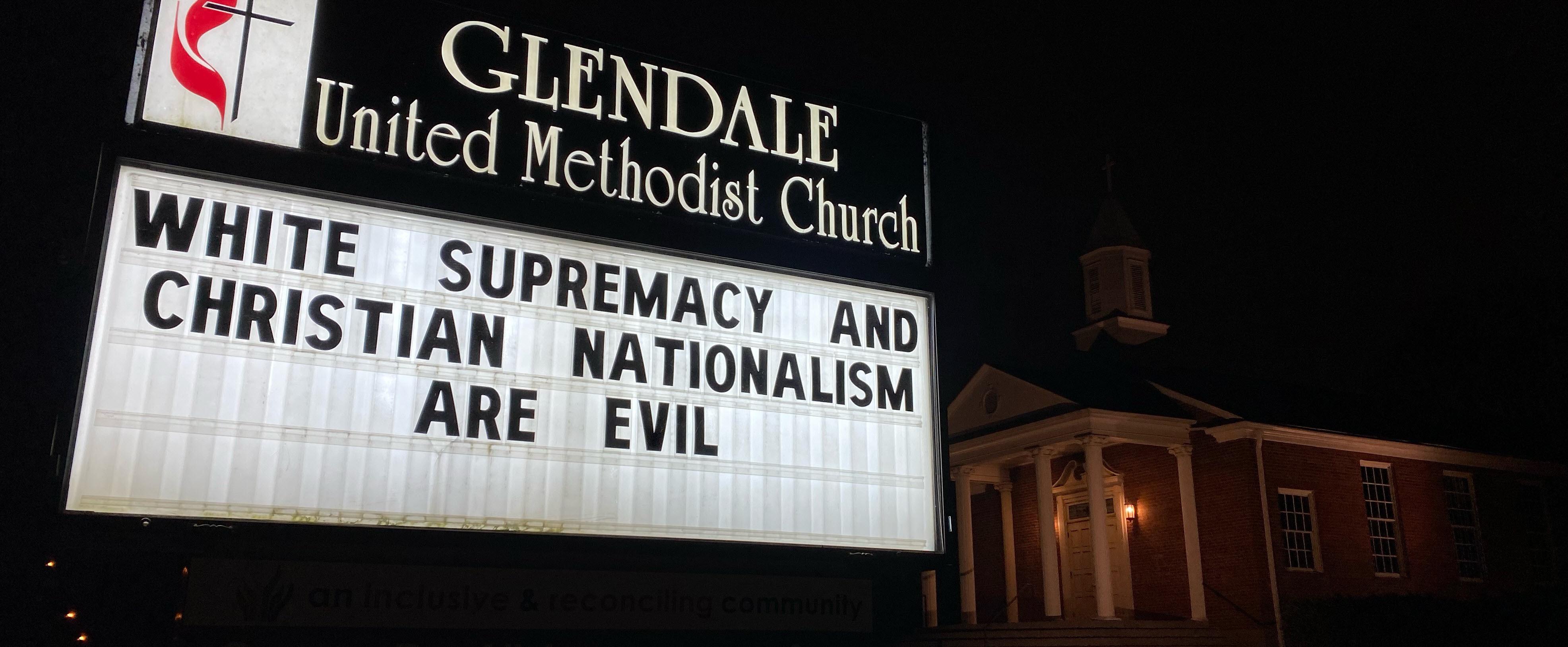Anti-racism sign outside Glendale United Methodist Church