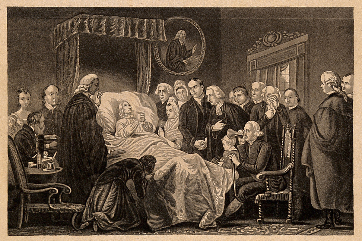 The death-bed of John Wesley, 1791. Mezzotint engraving by John Sartain (1808-1897) after painter Marshall Claxton (1813-1881). Image from Wellcome LIbrary, courtesy of Wikimedia Commons.