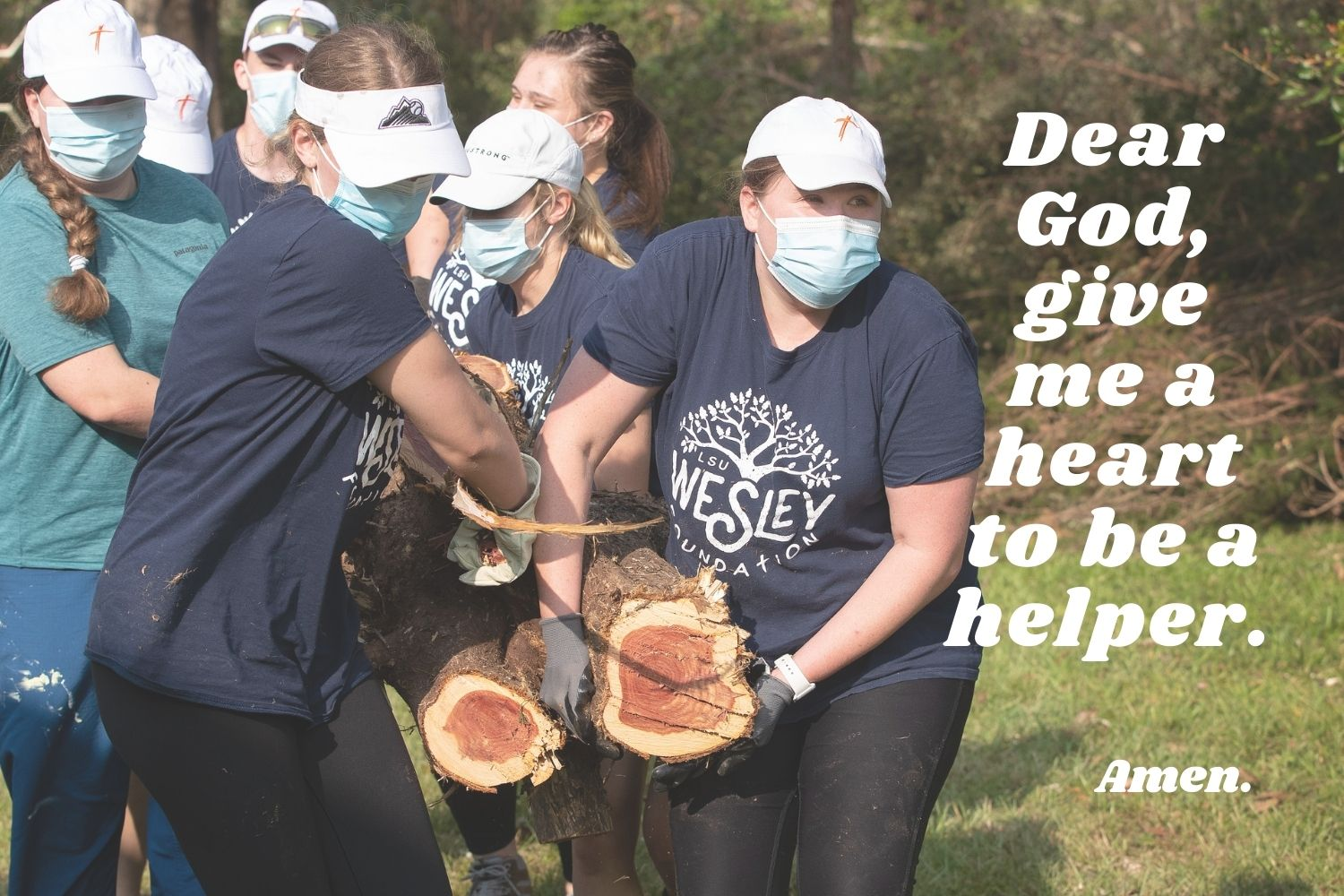 Dear God, give me a heart to be a helper. Amen. Photo by Mike DuBose, UM News; Canva image designed by Crystal Caviness, United Methodist Communications.