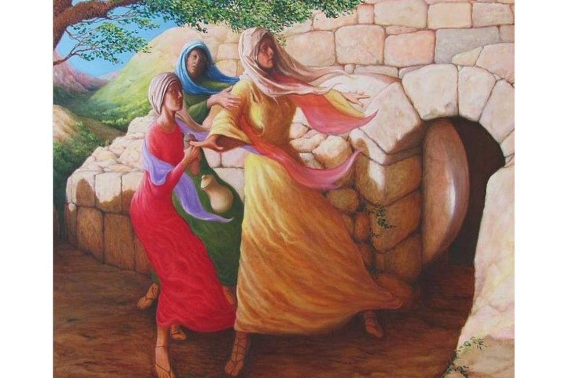 """Mary Magdalene discovering the empty tomb"" by Herschel Pollard, Ph.D. Permission granted for use by artist, 2021. Pollard is a former staff member of the Television Radio and Film Commission of the Methodist Church, a predecessor agency to United Methodist Communications."