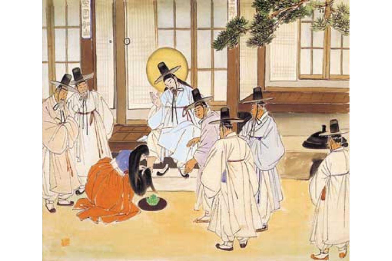 Woman anoints Jesus' feet by Woonbo Kim Ki-chang (1914-2001)