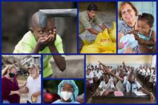 (clockwise from top left) Water project in Liberia; relief supplies in Philippines; doctor and patient in Brazil; primary school in Democratic Republic of Congo; dental student in US; disaster response in US; photos by Mike DuBose, UM News.