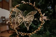 A butterfly Christian symbol on a Chrismon tree at Belmont United Methodist Church in Nashville, Tennessee
